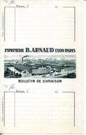 BULLETIN DE LIVRAISON.IMPRIMERIE B.ARNAUD.LYON.PARIS. - Imprimerie & Papeterie