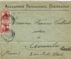 TP 84 (N° Y&T) En 2 Ex Sur Enveloppe, De Dürmenach  Pour Avranches - Allemagne