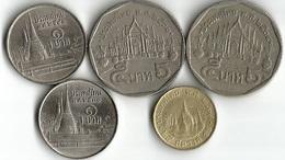 Lot De 5 Pièces De Monnaie  25 Satang  - 1 Et 5 Baht - Thaïlande