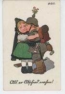 GUERRE 1914-18 - Jolie Carte Fantaisie Enfant Soldat Prussien Embrassant Sa Bien Aimée (signée) - Autres Illustrateurs