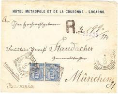 1901 R-Brief Aus Bordighera Nach München; Hotel Metropol Locarno; Altersspuren - 1900-44 Victor Emmanuel III.