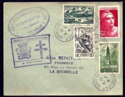 LETTRE LIBERATION FORTERESSE DE LA ROCHELLE- 8-5-1945-  (ARMISTICE)- JOLI TIMBRAGE- TAMPON ENTR'AIDE DES PRISONNIERS- - 1921-1960: Modern Period