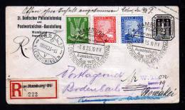 1925 - Phil.-Tag Hamburg - Einschreibbrief Mit Passendem Sonderstempel Und Sonder-R-Zettel Nach CSR - Nachporto - Expositions Philatéliques