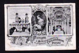 1909- 5 Pf. Privat Ganzsache Cäcilienverein Passau - Harmonium-Spielerin - Gebraucht - Musique