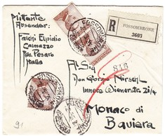 1921 R-Brief Aus Fossombrone Nach München; Eine Marke über Den Rand Geklebt - 1900-44 Victor Emmanuel III.