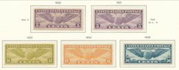 USA 1930-1939 Air Mail Scott # C12, C16-C17, C19, C24. Winged Globe. Mixed MNH(**)/MH(*). See Scans And Description. - Air Mail