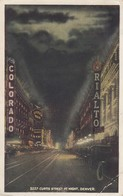 USA - CP 1926 - CURTIS STREET AT NIGHT - DENVER TO PARIS FRANCE /1 - Denver