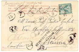 1905 Militäransichtskarte Aus Bronte Nach Parma; Diverse Nummernstempel Und Sconosciuto Dall Portalettere - 1900-44 Victor Emmanuel III.