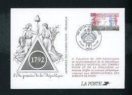 FRANCE - PSEUDO ENTIER DU N° Yt 2771 (AN 1 DE LA RÉPUBLIQUE) OBLITÉRÉ DE PARIS DU 26/9/1992 - Ganzsachen