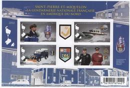 """Saint Pierre Et Miquelon 2015 : Bloc 4 Timbres """" Gendarmerie Nationale Française En Amérique Du Nord -  Neuf ** - - Blocks & Kleinbögen"""