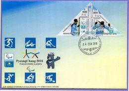 Kazakhstan 2018. FDC. Sport. XII Paralympic Winter Games  Pyeongchang. Skiing. - Kazakhstan