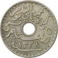 Monnaie, Tunisie, Muhammad Al-Nasir Bey, 25 Centimes, 1920, Paris, TB+ - Tunisie