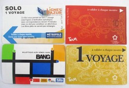 Lot De 4 Tickets De Transport  NICE NIMES MONTPELLIER - Titres De Transport