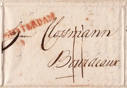 Lettre Amsterdam 1817 Karthaus Hasenclever Pays Bas Bordeaux Gironde Nederland - Poststempels/ Marcofilie