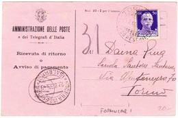 1935 Postkarte Des Post - Und Telegrafenamtes Aus Salerno; Gestempelt Torino - 1900-44 Victor Emmanuel III.