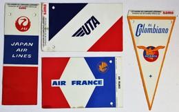 4 Fanions Des Compagnies Aériennes 1966 SAMO Japan Air Lines Air France UTa El Colombiano Avancia - Publicités