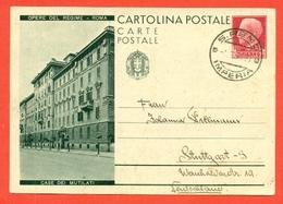 INTERI POSTALI I-CARTOLINE POSTALI-C73/2 - DA SAN REMO PER STUTTGART-GERMANIA -ESTERO-CASE MUTILATI - 1900-44 Vittorio Emanuele III