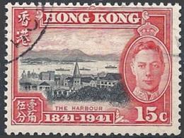 Hong Kong, 1941 Cent. Of British Occupation, 15c Red & Black # S.G. 166 - Michel 166 - Scott 171  USED - Oblitérés