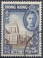Hong Kong, 1941 Cent. Of British Occupation, 25c Dp Blue & Dk Brn # S.G. 167 - Michel 167 - Scott 172  USED - Oblitérés