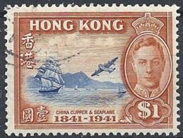 Hong Kong, 1941 Cent. Of British Occupation, $1 Brn Org & Brt Bl # S.G. 168 - Michel 168 - Scott 173  USED - Oblitérés