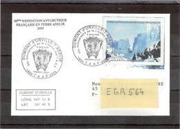 E28 - PO 421 Cachet Illustré 1er Jour 6 Août 2005 TERRE ADELIE - 50 ème Anniversaire Des TAAF . - Terres Australes Et Antarctiques Françaises (TAAF)