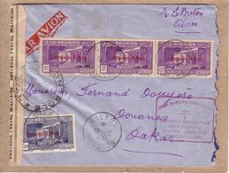 LETTRE CILAOS REUNION POUR DAKAR TIMBRES SURCHARGE FRANCE LIBRE , CONTROLE POSTAL FORCES FRANCAISES COMBATTANTES - 1943 - Reunion Island (1852-1975)