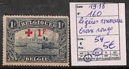 [821617] */Mh-Belgique 1918 - N° 160, Légères Rousseurs, Organisations, Croix-Rouge, Bateau, Transports - 1918 Rotes Kreuz