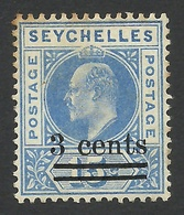 Seychelles, 3 C. On 15 C, 1903, Scott # 49, MH. - Seychelles (...-1976)