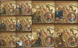 J) 2012 REPUBLIC OF DUMALI, JOHANES BRAHAMS, LUDWIG VAN BEETHOVEN, MOZART, COMPOSER, MUSICAL INSTRUMENTS, SET OF 11 SOUV - Mali (1959-...)