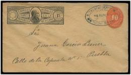 MEXICO - Stationery. 1894. Mexico - Puebla. Express Hidalgo 15c Cream / 10c Large Numeral / Oval Cachet. Fine Scarce Use - Mexico