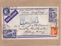 LETTRE POUR HONG KONG , AFFRANCHISSEMENT MIXTE + MARQUE INAUGURATION DU SERVICE HANOÏ HONGKONG 1938 + RETOUR - 1938 - Luftpost