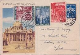 VATICAN - ENTIER POSTAL AVEC COMPLEMENT AFFRANCHISSEMENT 1950 - Vatican