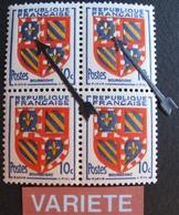 R1624/336 - 1949 - ARMOIRIE De BOURGOGNE - BLOC N°834 TIMBRES NEUFS** - VARIETE ➤ DECALAGE DU JAUNE / LYS BLANCS - Errors & Oddities