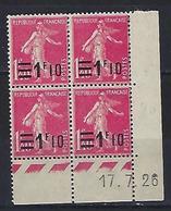 "FR Coins Datés YT 228 "" Semeuse 1F10 S 1F40 Rose "" Neuf** Du 17.7.26 - ....-1929"