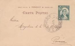 ENTERO ENTIER POSTAL STATIONERY CIRCULEE TO PARANA YEAR 1901 PARAGUAY- BLEUP - Paraguay