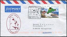Chile 1999 ISLA DE PASCUA Easter Island Rapa Nui Cover Franked MAP Landkarte Boat Ship Osterinsel Île De Pâques >Germany - Chili
