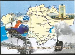 J) 2004 KASAKSTAN, MAP, RAYLWAY, SOUVENIR SHEET, MNH - Kazajstán