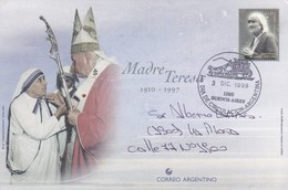 MADRE TERESA. ENTERO ENTIER POSTAL STATIONERY CIRCULEE TO LA PLATA, ARGENTINE YEAR 1999. FDC- BLEUP - Postal Stationery