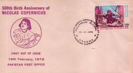 Pakistan Fdc 1973 & Stamp Nicholas Copernicus Astronomer - Pakistán