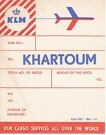 ANTIGUA ETIQUETA DE LA COMPAÑIA AEREA KLM  (AVION-PLANE) KHARTOUM - Étiquettes à Bagages