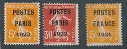CF-163: FRANCE: Lot Avec Préo Obl N°30-32-33 - 1893-1947