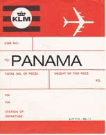 ANTIGUA ETIQUETA DE LA COMPAÑIA AEREA KLM  (AVION-PLANE) PANAMA - Étiquettes à Bagages
