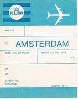 ANTIGUA ETIQUETA DE LA COMPAÑIA AEREA KLM  (AVION-PLANE) AMSTERDAM - Étiquettes à Bagages