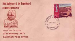 Pakistan Fdc 1973 & Stamp Excavation Of Moenjodaro Unesco World Heritage - Pakistan