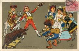 PUBLICITE CHAUSSURES RAOUL LES NATIONS ESPAGNE ESPANA ENFANTINA ILLUSTRATEUR TORERO MUSICIEN - Publicidad