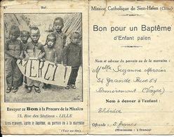 """China Chine Mission Catholique De Sien-Hsien """"献县"""". Bon Pour 1 Baptème D'enfant Païen 1935 - Vieux Papiers"""