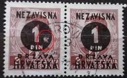 PETER II-1 D-OVERPRINT NDH-PAIR-ERROR-HOLE-WWII-CROATIA-1941 - Croatia