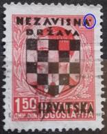 PETER II-1.50 D-COAT OF ARMS-OVERPRINT NDH-ERROR-DOT-WWII-CROATIA-1941 - Croatia