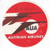 ANTIGUA ETIQUETA DE LA COMPAÑIA AEREA AUSTRIAN AIRLINES (AVION-PLANE) AUA - Etiquetas De Equipaje