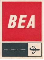 ANTIGUA ETIQUETA DE LA COMPAÑIA AEREA BRITISH EUROPEAN AIRWAYS (AVION-PLANE) BEA - Etiquetas De Equipaje